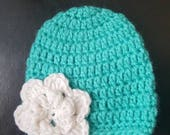 Teal Crochet baby beanie with white Flower