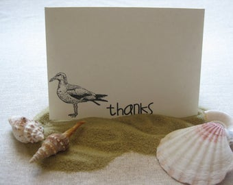 6 Handmade seagull blank thank you notecard set