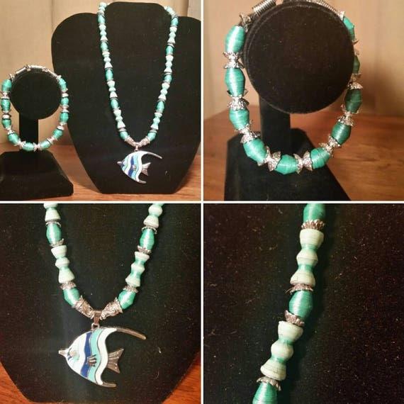 "Paper Bead-  Fish - Necklace - Aqua- Handmade - Handpainted - 17"""