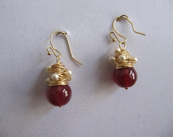 Wire wrapped dark red earrings