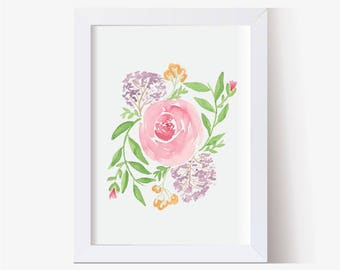 Watercolor Painting, Watercolor Picture Roses Art Print, Floral Art Print, Watercolor Art, Hand Painted Watercolor Art (5x7, 8x10, 11x14)