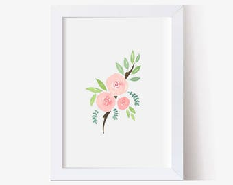 Watercolor Painting, Watercolor Picture Pink Roses Art Print, Watercolor Flower Art Print, Watercolor Leaves Art Print (5x7, 8x10 11x14)