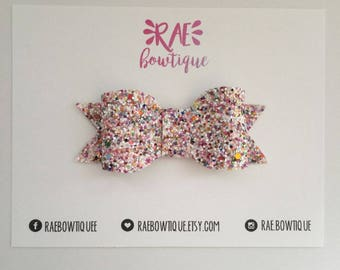 MULTICOLORED GLITTER bow hair clip or nylon headband | multi colored glitter bow | baby bow | kids bow | faux leather bow
