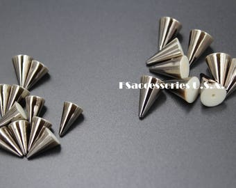 Wholesale 100/50/25/10sets 7.3mm Cone Bullet Rivets/Cone Bullet Spikes/ABS/Gunmetal/Clothing/Costumes/Hat/Shoes/Bag/Belt/Leathercraft/DIY#41