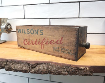 Vintage Wooden Cheese Box - Storage Drawer - Wilson's Certified Cheese