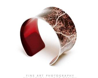Boho Jewellery - 10th Anniversary Aluminium - Cuff Bracelet - Jesus Green Trees Earth Brown - Anniversary Gifts - Bangle - Cuff - Tree Art