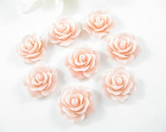 8PC Light Pink Resin Flower Cabochon, Flat Back Resin Flower, 18mm Jewelry Supplies
