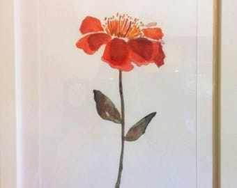 Red flower-flower painted on cardboard-framed painting unique-handmade Gift