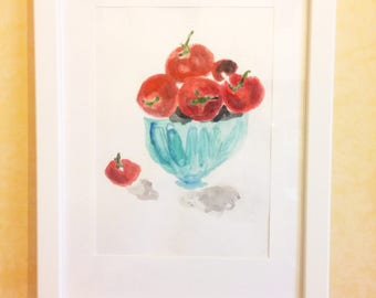 Vase of red tomatoes-drawing on cardboard in mixed media on cardboard-acrylic painting and Watercolor-Painting with wooden frame