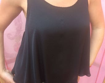 Silk black top - hippie/boho style Summer