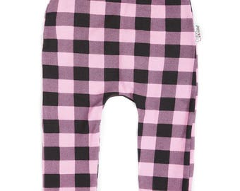 Grow-with-me Pink Plaid trousers/leggings