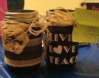 Love and Lace Mason Jar set