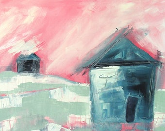 Small House Big Sky - Abstract Painting
