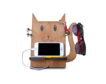 cute phone accessory, cat phone stand, wooden cell phone stand, iphone 6 stand for desk, mobile holder for charging, mobile device stand
