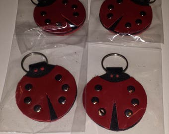 Ladybug keychain, 4 layers thick,  all leather.