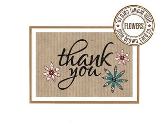 10 Pack Thank-you Cards with Envelopes - Flowers