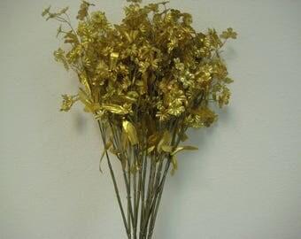 """12 Sprays GOLD Ruffle Baby Breath Filler Artificial Silk Flowers 18"""" Stem 828GD"""