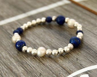 Pearls and Sterling Silver Stretch Bracelet with Lapis Lazuli Beads