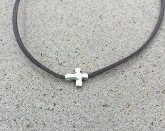 Silver Cross Suede Necklace