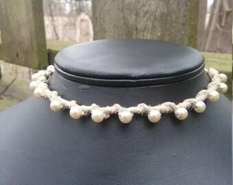Pearl Macrame Hemp Choker Necklace