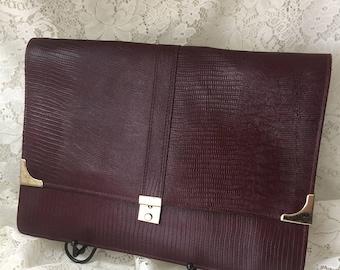 "Vintage Burgundy Leather Purse - Clutch  13 5/8"" L x 10"" H"