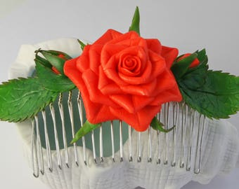 Red Rose Flowers Cold Porcelain Hair Comb Hair Accessories Handmade Crown for Hair Bridal Hair Comb