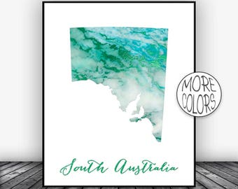 South Australia Art Print Home Decor Map Wall Prints