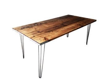 Industrial Reclaimed Timber Scaffold Board,  Retro Dining Table on Vintage Hairpin Legs