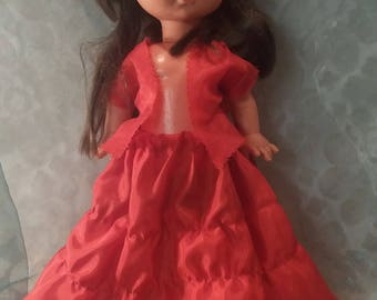 Old doll FIBA ITALY held vintage retro red + cape