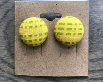 Yellow and Green Button Earrings