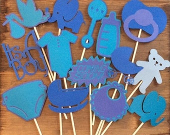 Baby shower boy, girl, or gender reveal photo props choose your color and theme party decor