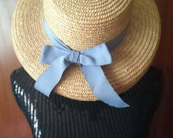 April Cornell Vintage Straw Sun Hat With Blue Ribbon