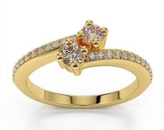 Two Stone Diamond Ring 14k Yellow Gold