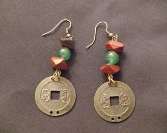 Rustic coin, dangle earrings, bronze with red and green glass beads