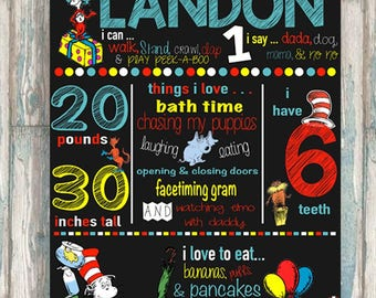 Dr. Seuss Birthday Chalkboard - Dr. Seuss Birthday Decoration - ANY AGE - Customized Chalkboard - 20x30 Chalkboard