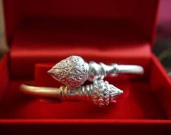 Thai Silver Lotus  Bracelet