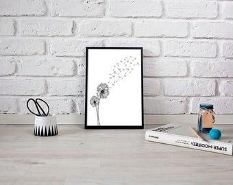 Dandelion Print,  Dandelion Poster, Dandelion Wall Art, White, Botanical Illustration, Art Print, Wall Decor,  Instant Digital Download