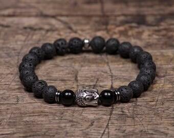 Silver Buddha - Black Lave Stone