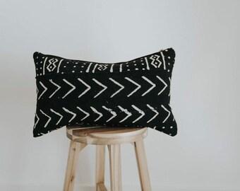 """African Mudcloth Throw Pillow Cover 14x22 Lumbar """"Sadiki"""