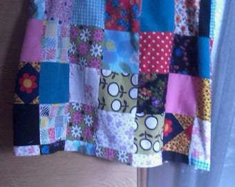 Retro Patchwork skirt - Size 14 - Made from a vintage Maxi-Dress