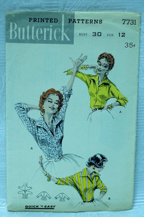 "Butterick 7731 Italian 1950's retro shirt ""rockabilly """