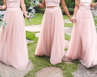 Straight Maxi Tulle Skirt/Wedding Skirt/Bridesmaids Skirt/Custom Color