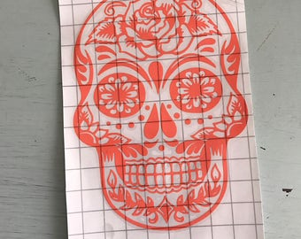 Rose sugar skull vinyl decal