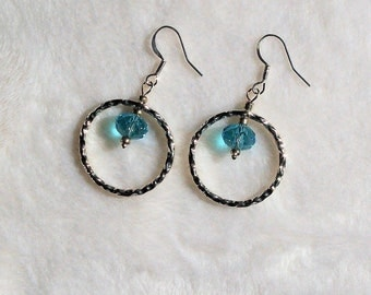 Aqua Crystal and Silver Hammered Silver Dangle Earrings / Handmade / Hand Crafted / Artist