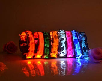 Camouflage Battery Led Pet Collars,  light up pet collars for you dog or cat