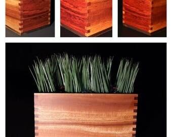 Centerpiece box, storage box, wooden keepsake box, trinket box - everything box! Handcrafted Sapele and Bubinga woods.