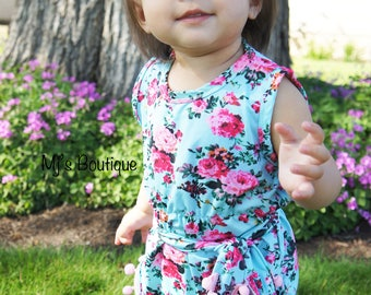 Baby Blue Floral Romper with Matching Headband