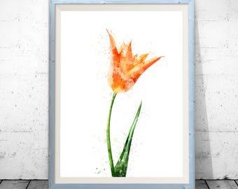 Watercolor Tulip Art Print, Watercolor Print, Tulip Painting, Watercolor Painting, Watercolor Flower, Tulip Print, Flower Painting