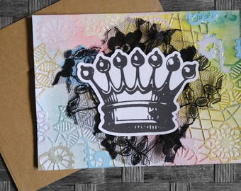 Handmade Card- Blank Inside- Queen Card- Mixed Media Card- Queen Birthday Card- Thinking Of You Card- Any Occasion Card