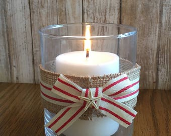 Red and White Nautical Votive